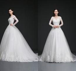 Best Modern Dresses NZ - Lace Ball Gown Wedding Dresses Long Sleeves Backless Cheap Wedding Gowns with Appliques Vestido de novia Best Sales