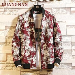 xl floral bomber jacket Australia - KUANGNAN Floral Spring Jacket Men Streetwear Bomber Jacket Men Coat Windbreaker Clothes Men Jacket Coat XXXL 2019 New ArrivalsMX190926