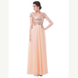 $enCountryForm.capitalKeyWord UK - 2019 Hot Sale Cap elegant dress for wedding party Sleeves V Neck Sequin Chiffon Rose Gold Bridesmaid Dress Long