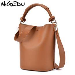 Ladies Messenger Handbags Australia - NIGEDU women Bucket Bags ladies messenger bag wide strap Women's Shoulder bag Large Capacity luxury lady handbags designer Totes