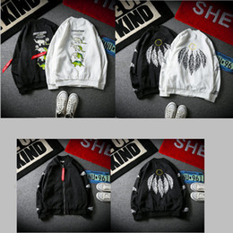 Feather Sleeve Jacket Australia - 2019 Snake Swallow Elephant Printed Baseball Suit Feather Pendant Zipper Jacket Couple Loose Baseball Wear Long Sleeve Jacket High Quality