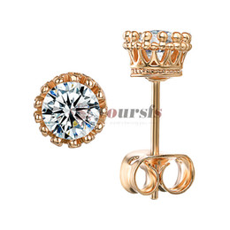 white rose fake flowers Australia - Yoursfs 2 Ct Fake Diamond Stud Earrings Womens Solitaire Diamond Earrings 18K Rose Gold Plated Classic Earrings