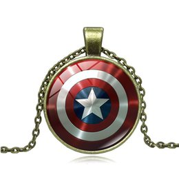 Kid Gems Australia - Marvel The Avengers Captain America Shield Pendant Necklaces Time Gem Glass Pendant Movie Necklace Jewelry for Women Men Kids Gifts DHL