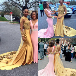 Gold Shirts For Girls Australia - African Gold Open Back Prom Dresses For Black Girls High Neck Long Sleeves Sweep Train Mermaid Evening Gowns With Gold 3D Rose Floral