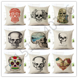 chairs skull Australia - 2016 45x45 High Quality Fashion Style Skull Houseware Chair Cushion Soft Pillow Cojines Almofadas Cotton Linen Square