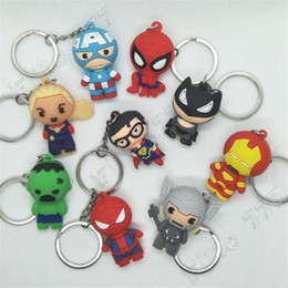 batman figure wholesale Australia - 3D Cartoon Figure PVC Marvel Avengers Keychain Cute Superhero Batman Spider Man Key Chain Key Ring Kids Key Holder Trinket Gift