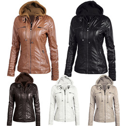 Faux leather moto jackets online shopping - Hoodies Women Winter Moto Leather Jacket Turn Down Collor Ladies Zipper Outerwear Faux Leather Pu Female Jacket Coat Plus Size