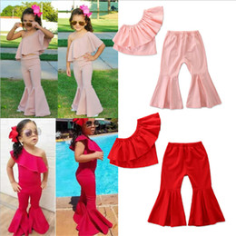 Discount girl pants off - Baby kids Girl clothes Outfits 2 colors Off Shoulder Solid Color Ruffle Tank Long Flare Pants 2Pcs Set Fashion children