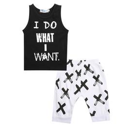 $enCountryForm.capitalKeyWord Australia - Toddler Baby Kids Boys O-Neck Sleeveless Cloth Set Cotton Letter Print Tops T-shirt Vest Short Pants 2pcs Outfits Set Clothes