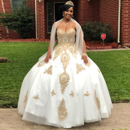 Shawl Beads Blue Australia - 2019 White Gold Appliques Ball Gown Quinceanera Dresses With Shawl Sweetheart Corset Back Pageant Dress Floor Length Prom Gowns