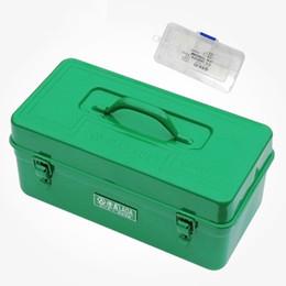 Iron storage case online shopping - LAOA Green color sheet iron suitcase two layers multi purpose storage box hardware kit parts box tool case