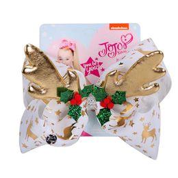 $enCountryForm.capitalKeyWord Australia - Christmas 8 inch Jojo Siwa Bows With Clip hair accessories for girls JOJO Hair Bows 2 Colors Christmas Elk Hair Bow SS292
