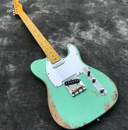 $enCountryForm.capitalKeyWord UK - Heavy Relic Electric guitar with ASH Body, Handwork Guitarra in Green Color, Maple Neck & Fretbaord, Aged Guitar parts