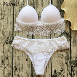 bikini bust Canada - Women Micro Bikini 2018 Sexy White Lace Bikini Set High Waist Brazilian Swimsuit Push Up Bikini Big Bust Swimwear Bathing Suit