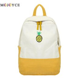 $enCountryForm.capitalKeyWord NZ - Canvas Women Backpack Cute Fruit Print Color Patchwork Teen Girl School Shoulder Bag Big Capacity Travel Rucksack