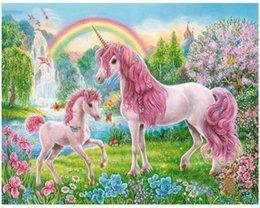 Ingrosso Dipinto a mano fai da te Dipinto ad olio per adulti Dipinto ad olio Paint-Pink unicorn 16