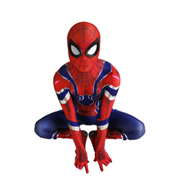 $enCountryForm.capitalKeyWord Australia - Adult Men Kids Avengers Infin Spiderman Cosplay Costume Lycar High Quality Blue Iron Spider Superhero Zentai Party Bodysuit Jumpsuit