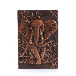 $enCountryForm.capitalKeyWord Australia - PU Leather Diary 3D Writing Notebook Anniversary Pocket Elephant Stationery Gift Notepad Embossed Cover Birthday Journal Vintage