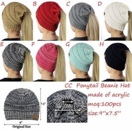 Discount grey woman wig - 2018 new European and American popular knit ponytail hats women's wild fashion hats wool wigs wholesale