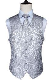 $enCountryForm.capitalKeyWord UK - Men's Classic Paisley Jacquard Waistcoat Vest Handkerchief Party Wedding Tie Vest Suit Pocket Square Set Q190428
