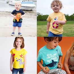 Baby Boy T Shirt Designs Australia - Free DHL Designing Baby Embroidery Summer Infant Cotton Unicorn Boys Girls Tee Cartton Car Rainbow Fox Shark Girls Short Sleeve T-shirts
