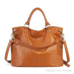 fa61cabd1 Envío gratis de alta calidad bolsos de cuero genuino para mujer bolsa de  hombro Crossbody bolsas de asas de gran capacidad monedero de cuero