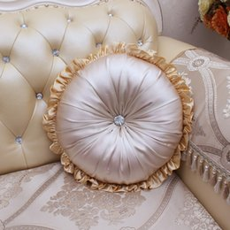 Satin fabric cuShion online shopping - Satin Fabric Round Chair Cushion Seat Pad Europe Home Car Bed Sofa Throw Pillow With Cotton Filling Lace Decor Tatami Cushion
