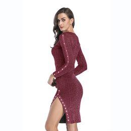 TighT red long dresses online shopping - Women Dress Autumn and Winter New  Split Button Decorative c9fe0d311