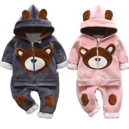 thick boys pant Australia - 2019 Winter Baby Boys Clothing Sets Fashion Girls Warm Hooded Coats And Pants Suit Baby Thick Velvet Tracksuit Kids Clothes Set LY191227