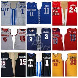 Man College Баскетбол Джерси Все команды Kyrie Джордж Дюрант Ирвинг Уолл Симмонс Лиллард Митчелл Аллен Леонард Айверсон Айтон Эмбид на Распродаже