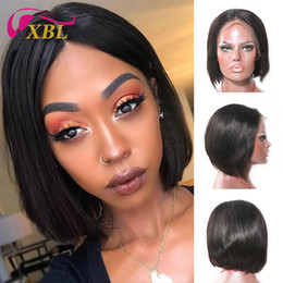 Brown Straight Wig Part Australia - xblhair lace front bob wigs wholesale human hair price with middle part straight human hair wig