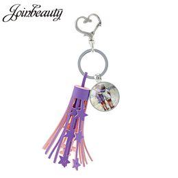 $enCountryForm.capitalKeyWord Australia - JOINBEAUTY Best Friend Art Printed Tassel Keychain Glass Cabochon Keychains Sisters Keyring Bohemian Key Chain Jewelry ST100