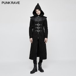 heavy metal zippers Canada - PUNK RAVE Men's Gothic Black Hooded Long Coat Steampunk Rock Heavy Metal Winter Coat Stage Performance Costume