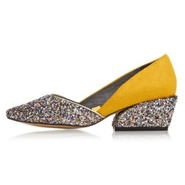 $enCountryForm.capitalKeyWord Australia - Genuine leather Symphony sequined Women wedges 5 CM Chunky heels Platform shoes Horsehair yellow Shoes Box Packing B688