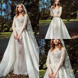 $enCountryForm.capitalKeyWord Australia - 2019 Zuhair Murad Wedding Dresses Off The Shoulder 3D Floral Appliqued Vestidos De Novia Detachable Country Wedding Dress Bridal Gowns
