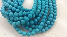 "$enCountryForm.capitalKeyWord Australia - 2strands 16"" Stablized Turquoise Beads round ball aqua blue Turquoise round ball disco Beads necklace 4mm 6mm 8mm 10mm 12mm"