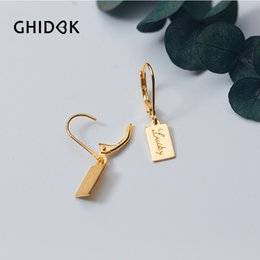 179886f04 GHIDBK 925 Sterling Silver Tiny Square Helix Cartilage Earrings for Women  Small Hoop Earrings Letters Lucky Huggies