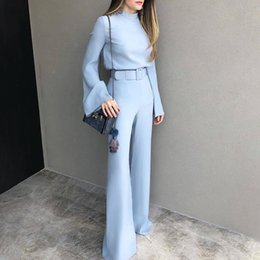 $enCountryForm.capitalKeyWord Australia - 2019 Spring Women Fashion Elegant Office Workwear Casual Jumpsuits High Neck Bell Sleeve Wide Leg Romper With Belt J190622