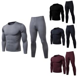 Wholesale warm underwear for sale - Group buy Men Winter Keep Warm Underwear Pants Sets Solid Color Male Slim Skinny Warm Long Sleeve Tops Undershirt Long Pants New