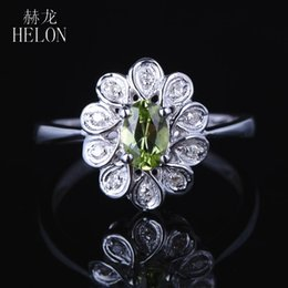 14k diamond cluster ring Australia - HELON Solid 14K White Gold AU585 Certified Oval 0.405ct Natural Peridot & Diamond Gemstone Engagement Wedding Women Jewelry Ring