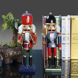 soldier cartoon NZ - 26CM Nutcracker Puppet Soldier Wooden Crafts Christmas Gift Home Decoration Desktop Ornaments Birthday gifts Toy Free Shipping
