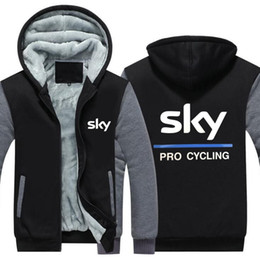 Thick Sweater Jacket Warm Australia - Elegant Winter Casual Thickened Jackets Coats SKY PRO CYCLING printing Cashmere hoodie Keep warm Hooded Thick Zipper cotton material Sweater