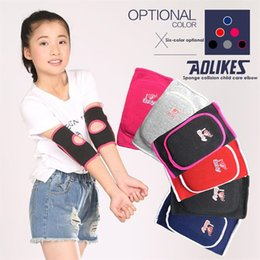 Elbow Supports Children Australia - 1 Pair Sports Protect Kits Warm Colors Children Sponge Elbow Brace Kids Adjustable Padded Elbow Support Brace Pads #185720