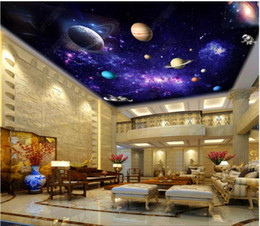 fantasy wallpaper Australia - High Quality Custom photo wallpaper 3d ceiling murals wallpapers Purple Fantasy Milky Way Starry Space Living Room Ceiling Zenith Mural