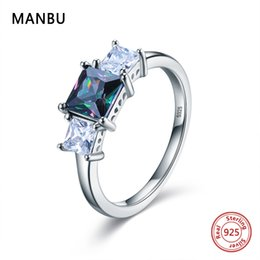 simple silver rings for couples 2019 - MANBU Simple trendy green crystal ring sterling silver rings pave setting CZ jewelry couple wedding gifts for women New