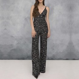 $enCountryForm.capitalKeyWord NZ - Newest Celebrity Party Bandage Jumpsuit Women Spaghetti Strap V-Neck Beading Sexy Night Out Full Length Boot Cut Jumpsuit Women