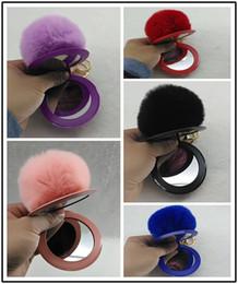 Chains For Mirrors Australia - HYS287 10colors Hot-selling Making-up Mirror Fur Ball Key Chain Korean Version New Hairball Key Chain for Girls bag Pendant 100pcs DHL