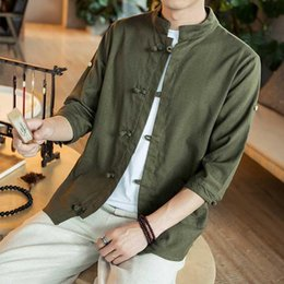 $enCountryForm.capitalKeyWord Australia - Summer New Men Shirt Fashion Chinese style Linen Slim Fit Casual Short Sleeves Shirt Camisa Social Business Dress Shirts Chinese
