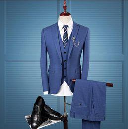 Blue Tweed Suits Australia - In Stock Royal Blue Mens Wedding Suits One Button Slim Fit Groom Wear Formal Business Prom Blazer Jackets(Jacket+Vest+Pants)