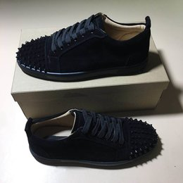 Wholesale Top quality Designer shoes Spike Red bottom Sneakers leather shoes casual dress shoes Suede luxury men women sneakers size with box dust bag